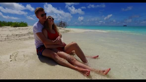 Thumbnail for Guy and girl engaged on exotic lagoon beach adventure by blue ocean with bright sandy background of