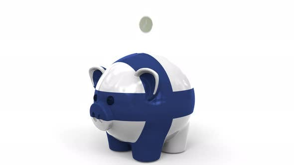 Thumbnail for Coins Fall Into Piggy Bank Painted with Flag of Finland
