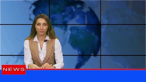 Female News Presenter in Broadcasting Studio