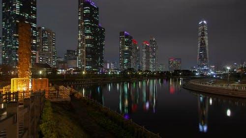 Incheon, Korea Illumination Cityscape at Nighttime