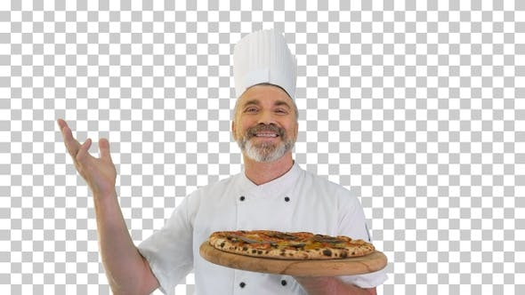 Thumbnail for Smiling chef smelling delicious pizza, Alpha Channel