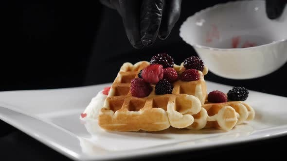 Thumbnail for Serving Sweet Breakfast Food, Unhealthy Eating. Sugar Food Concept. Fresh Waffles Served with Ice