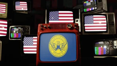 Flag of Atlanta and Flags of United States on Retro TVs.