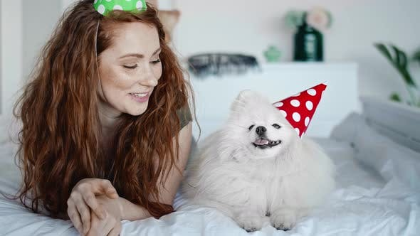 Thumbnail for Video of birthday celebration of woman and her dog