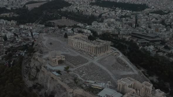 Aerial Circling Acropolis of Athens After Sunset at Dusk