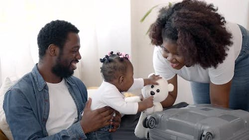 An African American Family Getting Ready for a Vacation