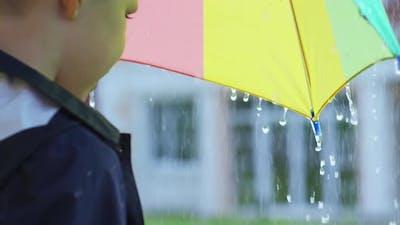 Boy with Umbrella Catching Raindrops