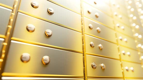 Cover Image for Golden Safe Deposit Boxes in a Bright Bank Vault Room