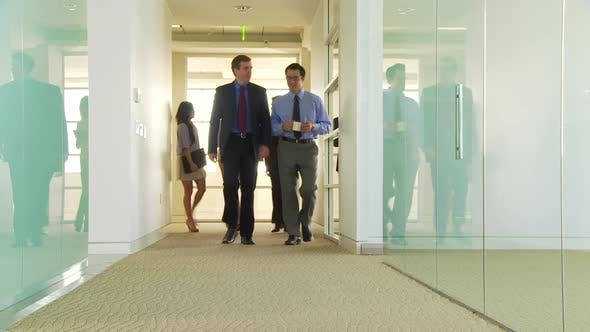 Thumbnail for Five business people walking down hallway