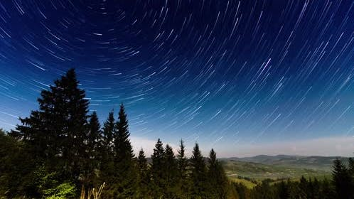 Traces of Stars Against the Night Sky Shot Long Exposure