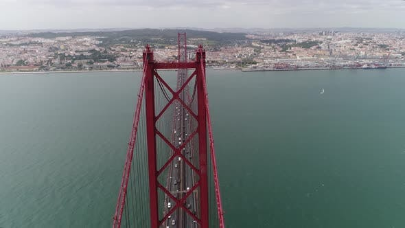 Thumbnail for Aerial Shot of a Modern Car Bridge in Lisbon in a Sunny Day in Summer
