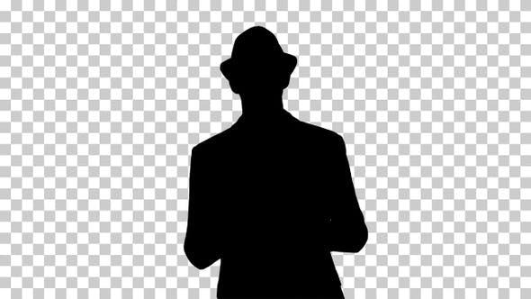 Silhouette Man in a hat walking, Alpha Channel