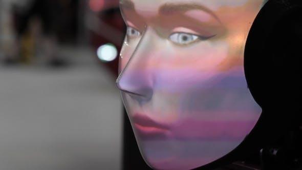 Thumbnail for Human robot. Robot face close up. Artificial intelligence.