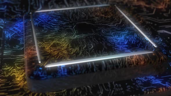Flying Over a Futuristic Circuit Board with Moving Electrons.