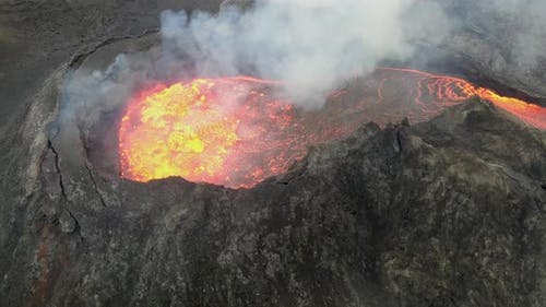 Aerial view of Fagradalsfjall erupting volcano crater, Iceland