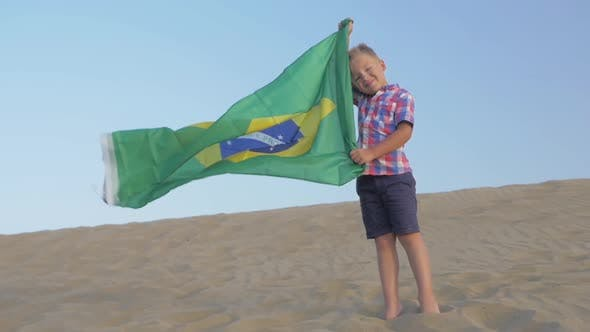 Thumbnail for Child with Flag of Brazil on the Beach