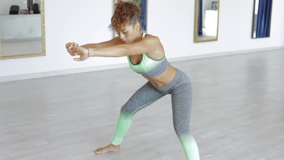 Thumbnail for Sexy Fit Woman Stretching in Class