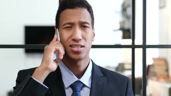 Phone Talk, Businessman Attending Call at Work