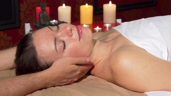 Thumbnail for Happy Attractive Woman Smiling To the Camera After Relaxing Neck Massage