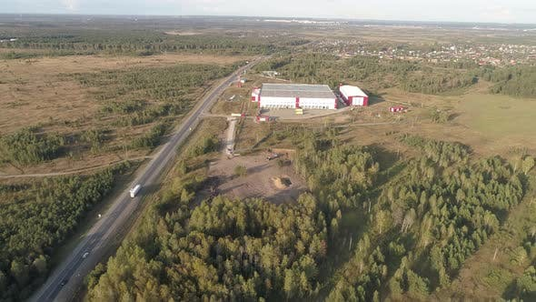 Aerial View of Logistics Center Next to The Highway 07