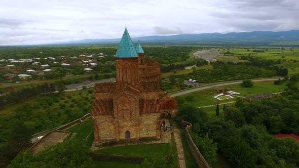 Aerial panoramic view of old Orthodox Gremi Church in Shilda village, Georgia