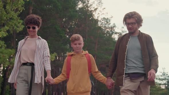 Family On Walk Outdoors
