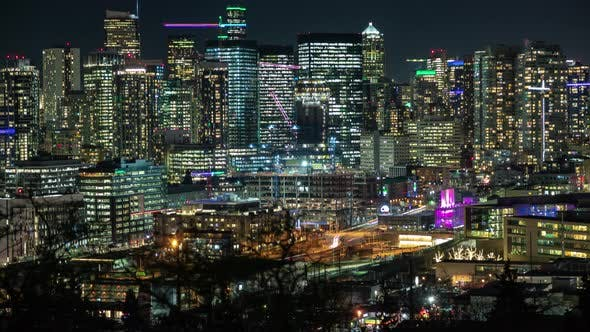 Cover Image for Illuminated Cityscape In Action From Seattle Viewpoint Lookout At Night