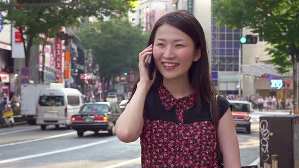 Japanese Woman Talking Cell Phone