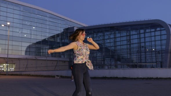 Thumbnail for Happy Woman Tourist Dancing, Having Fun, Enjoying Dance, Celebrating Success, Party Music. Evening