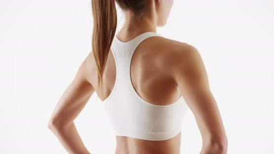 Thumbnail for Healthy woman fitness trainer standing white background
