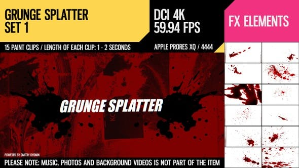 Thumbnail for Grunge Splatter (4K Set 1)