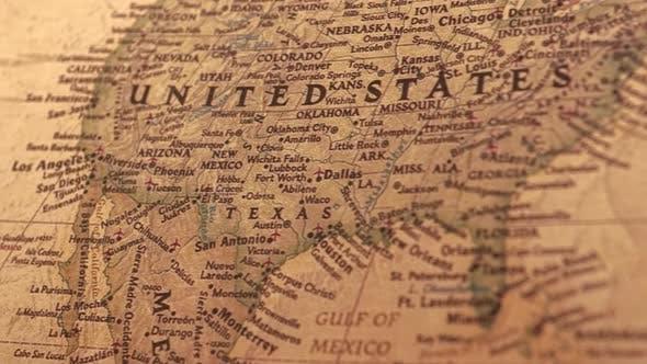 Retro Usa World Map.