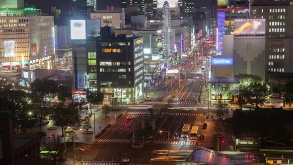 Thumbnail for Nagoya Main Highway Traffic Night Flow Timelapse