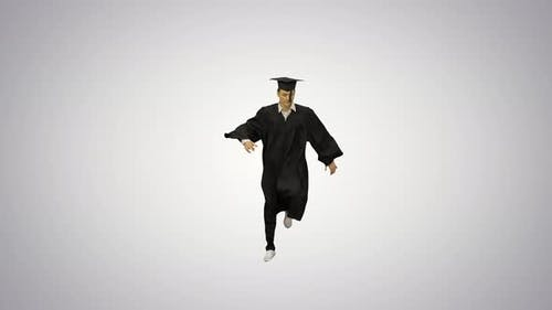 Male Graduate in Robe and Mortarboard Doing Modern Dance Looking at Camera on Gradient Background
