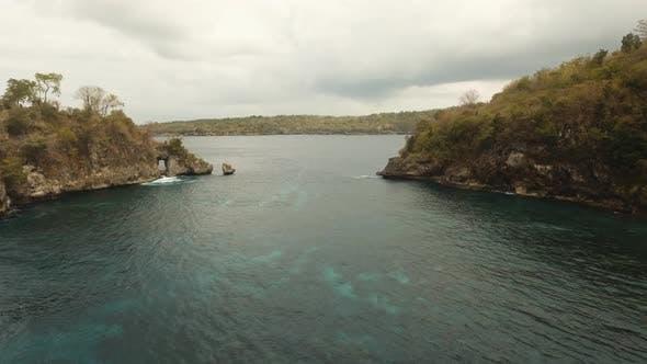 Cover Image for Blue Lagoon on a Tropical Island. Nusa Penida