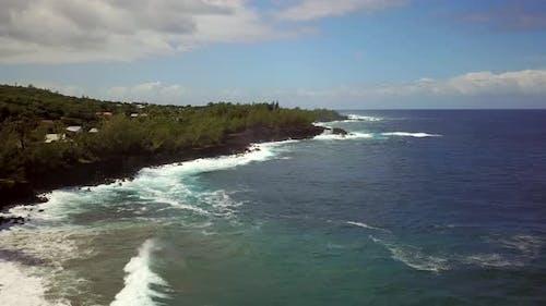 Aerial view of rocky coastline, Reunion island.