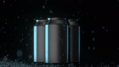 The rain drops fell on cans, cans with dark background.