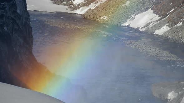 Thumbnail for Rainbow close up at Dettifoss waterfall