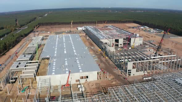 Thumbnail for Huge Construction Site and Structures of Factory Building Being Built in Germany, Aerial View
