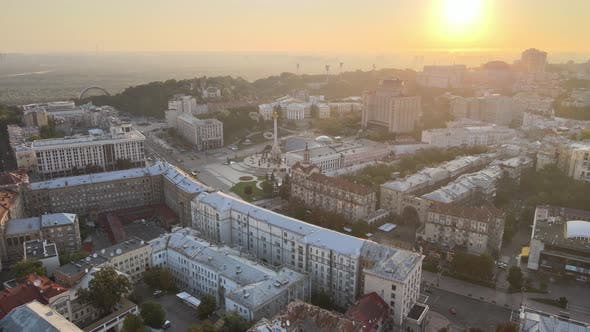 Thumbnail for Ukraine, Kyiv : City Center in the Morning at Sunrise. Aerial View. Kiev
