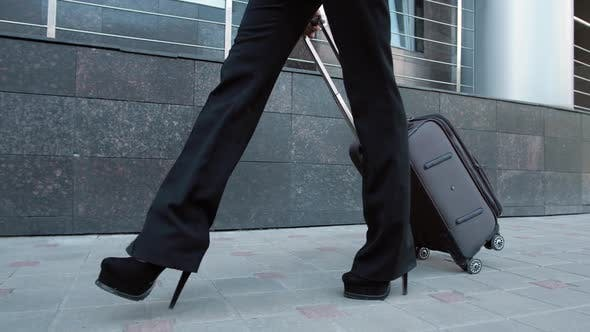 Woman Latina Spanish Walking at the Airport Terminal, Businesswoman Business Woman Luggage Baggage