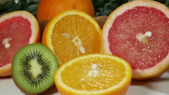 Colorful Fruit Citrus And Kiwi Fruit
