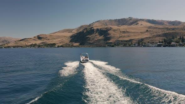 Thumbnail for Drone Following Boat On Popular Summer Destination Lake Chelan Washington