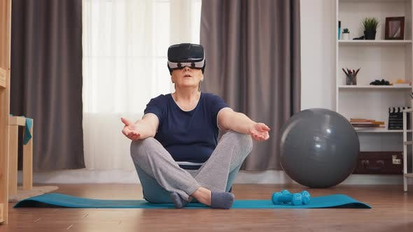 Meditating with VR Headset