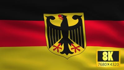 8K Germany With Eagle Windy Flag Background