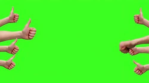Thumbs Up Gestures Green Screen