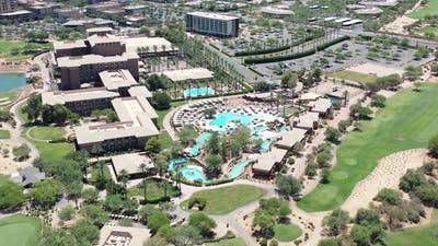 Flying Towards A Resort Pool