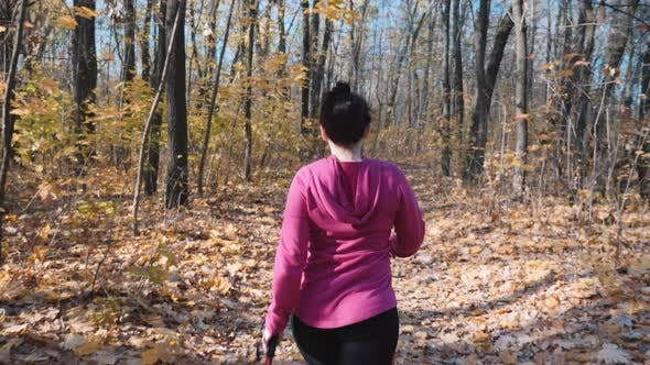 Nordic Walking concept. Young cute sportswoman training in autumn forest before work.