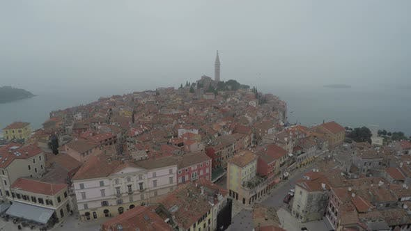 Thumbnail for Aerial view of Rovinj town by the sea