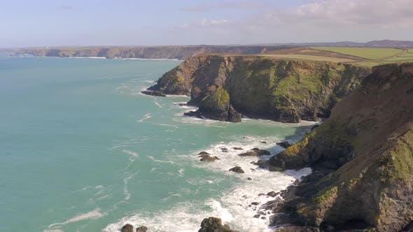 Godrevy Heritage Coast in Cornwall Aerial View